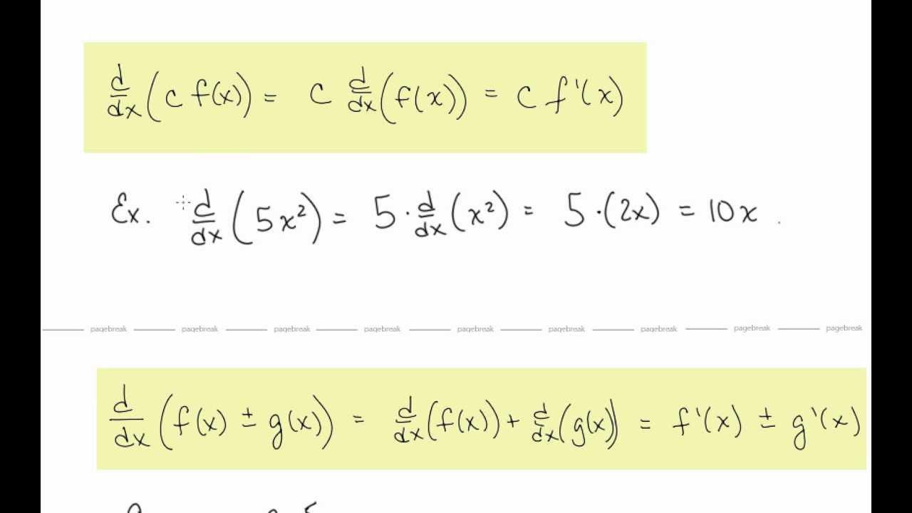differentiation formulas pdf