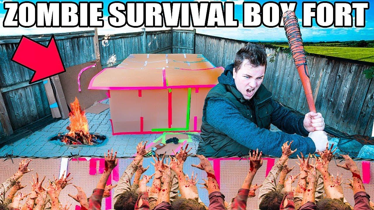 BOX FORT ZOMBIE SURVIVAL BASE!!