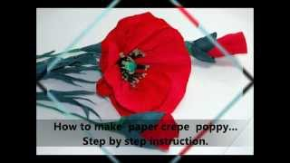 How to make paper crepe poppy  Step by step DIY