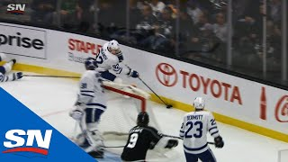 Maple Leafs' Igor Ozhiganov Makes Brutal Play In Own Zone Leads To Kings Goal
