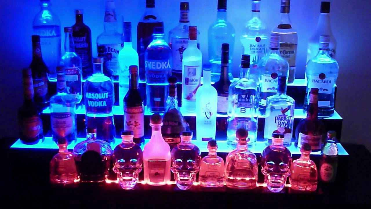 bottles of alcohol neon