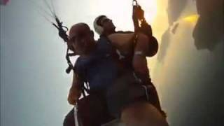 Funny parachute jump in Turkey