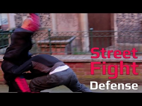 Street fight  prevent leg grab, elbow to the back