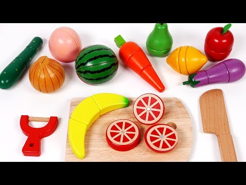 Learn Colors with Cutting Fruit and Vegetables Toy Playset Pretend Play Food for Kids and Children