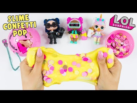 Watching video LOL SURPRISE CONFETTI POP SLIME!! FLUFFY SLIME LOL