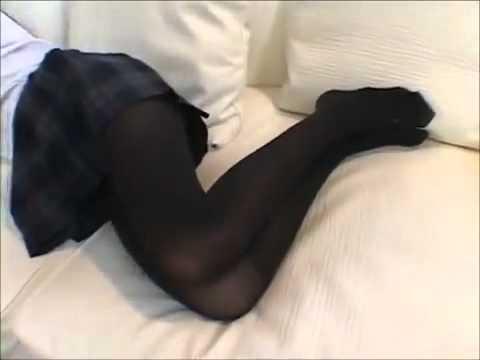 image Black pantyhose girl playing smart phone