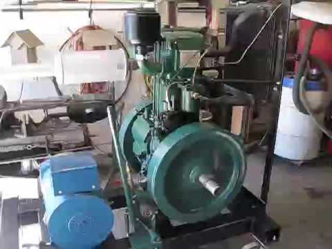 Start up of 10HP listeroid diesel engine  Lister clone - YouTube