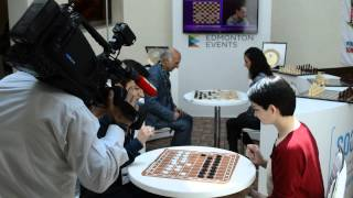 Four times World Draughts Champion Darya Tkachenko giving interview to Turkish Television