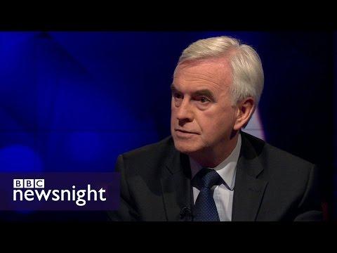 John McDonnell on EU referendum, Labour anti-semitism row - BBC Newsnight