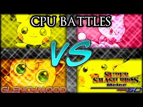 (CPU Battles) Super Smash Bros. Melee - SD Remix: Pichu VS Mewtwo VS Jigglypuff VS Pikachu