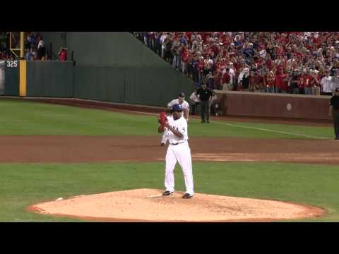 Texas Rangers Neftali Feliz throws another pitch to A Roid Game 6 2010 ALCS