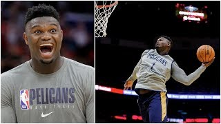 Zion Williamson throwing down all sorts of dunks during Pelicans open practice