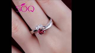 Stylish silver heart shaped jewelry red zircon ring