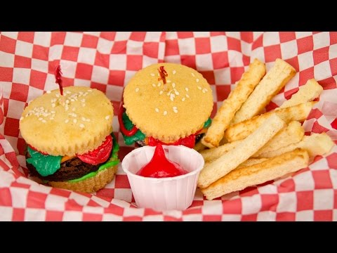 Hamburger Cupcakes and French Fries from Cookies...