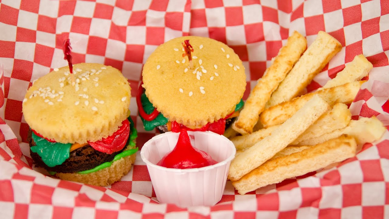 Hamburger Cupcakes and French Fries from Cookies Cupcakes and Cardio ...