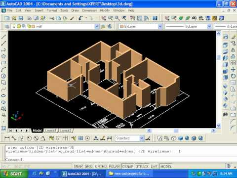 Autocad 3d Modeling 3d Wall in Autocad