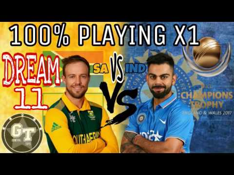 100% PLAYING X1    INDIA VS SOUTH AFRICA      CHAMPIONS TROPHY MATCH 11    DREAM 11 PLAYING 11 BY GT