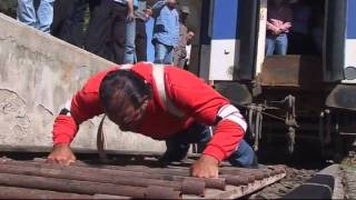 STRONGMAN: Syrian man pulls 150 tonne train