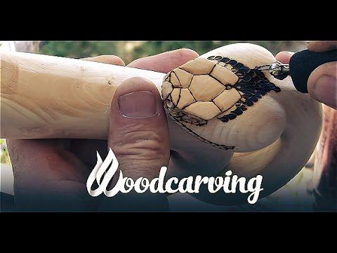 Woodcarving Cobra Snake  ►► Змея Кобра Урок Резьба по дереву Part 1