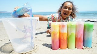 MIXING ALL MY SLIMES ON THE BEACH!! Giant Slime Smoothie