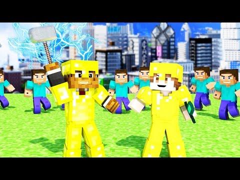 Minecraft | THOR HAMMER Mod VS 50 Fans - Minecraft Fan Battle - Modded Mini-Game