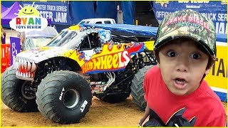 Ryan plays at Giant Monster Truck show for kids!!!