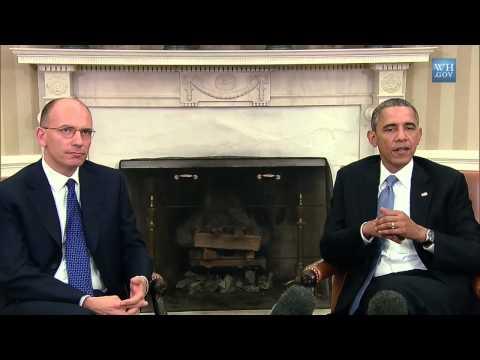 Studio Ovale della Casa Bianca - Incontro bilaterale Enrico Letta e Barack Obama (17/10/2013)