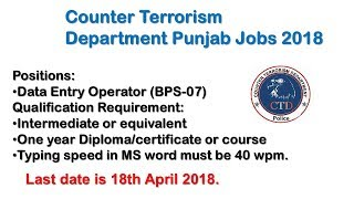Counter Terrorism Department Punjab Jobs 2018