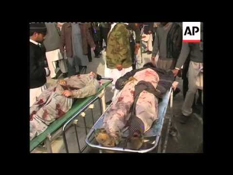 WRAP Suicide bomber kills16 at police checkpoint, hospital, blast site