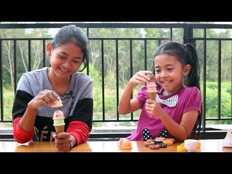 Unboxing Mainan Anak Funny Game Cookies - Menyusun Eskrim dan Donat - Stacking Ice Cream Game