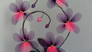 Как сделать цветы из капрона.Мастер класс.