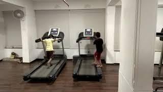 Naughty kid inside gym