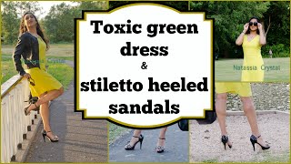 Crossdresser - toxic green dress and black and white stiletto high heels sandals | NatCrys
