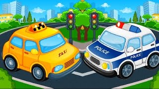 Puzzle Cars and Trucks for Kids - Street Vehicles videos : Police car,Taxi,Tractor