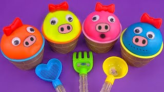 4 Color Play Doh in Ice Cream Cups with Peppa Pig | Learn Colors and Nursery Rhymes for Kids