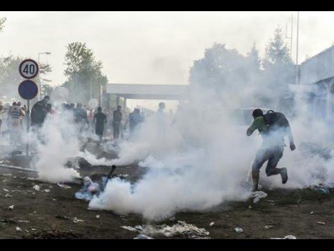 Chaos at Hungary border as police tear gas migrants