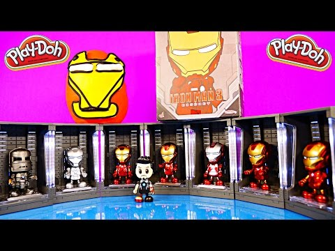 Play Doh Iron Man Surprise Egg Marvel Iron Man 3 Cosbaby Toys Light Up Lockers Disney Cars Toy Club