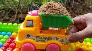 Build a Bridge Across the River | Excavator Dump Truck Construction Vehicles Toys For Kids