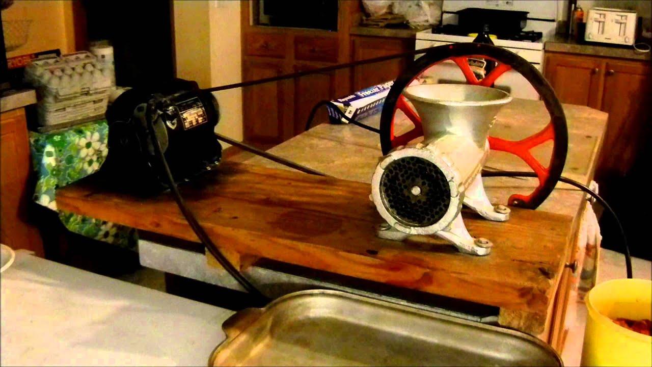 Kitchener 32 Meat Grinder With V Belt Pulley Grinding Venison With Electric Motor Youtube
