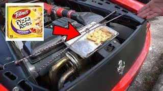Baking Totino's Pizza Rolls with a Ferrari 360 Exhaust