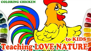 Coloring healthy rooster | Learn Colors For Kids, Toddlers