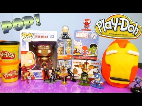Play Doh Iron Man Funko Pop + Surprise Toy Eggs + Marvel Mystery Minis By Disney Cars Toy Club