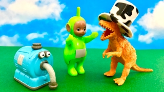 TELETUBBIES toys and Dinozaur Rex - Dipsy wants his hat back