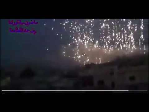 Breaking! Video of Assad using phosphorus bombs on civilian area!  Israel attacks in Syria!