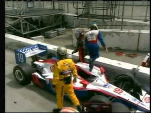 2011 Indycar Long Beach - Sebastian Bourdais and Marco Andretti pit crash / Andretti cusses