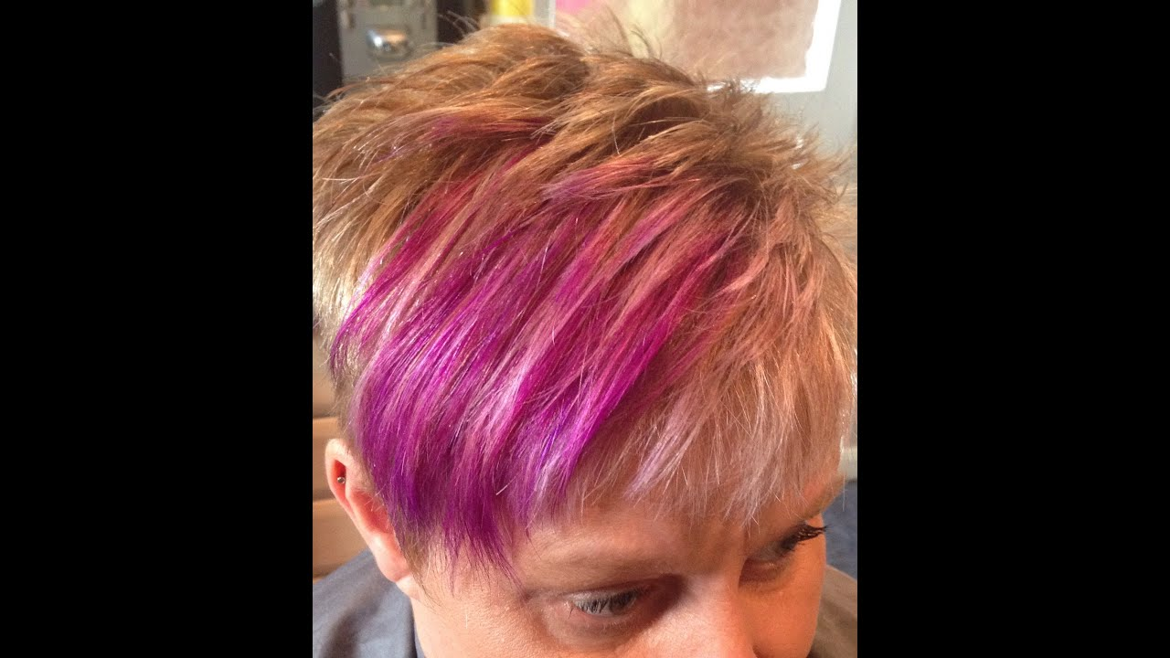 Pixie Style Haircut With Blonde Weaved Foils And Purple