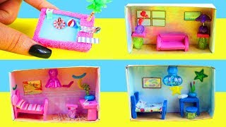 How to Make Miniature Matchbox Dollhouses Tutorial : Pool, Living-Room, Boy & Girl Bedrooms