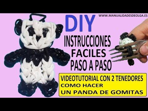 COMO HACER UN PANDA DE GOMITAS CON DOS TENEDORES. VIDEO TUTORIAL DIY FIGURA CHARM