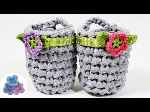 Como hacer cestas organizadoras de trapillo facil diy - Como hacer cosas de ganchillo ...