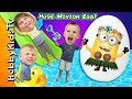 Biggest MINION POOL EGG! Surprise Toys + Despicable Me 3 Luau...